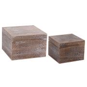 Conjunto 2 caixas quadradas madeira decoradas 15x10cm 11x8cm BTC