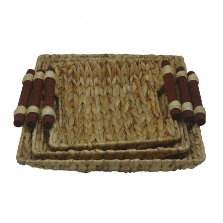 Conjunto 3 bandejas fibra natural alças madeira BTC