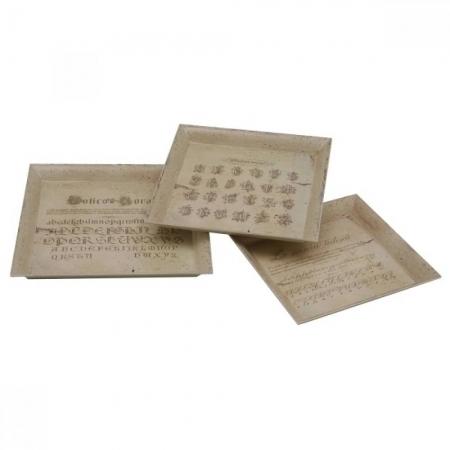 Conjunto 3 bandejas PVC decoradas quadradas 32-29 - 26cm BTC