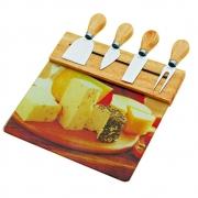 Conjunto 4 facas/garfo queijo tabua vidro suporte 24x23 BTC