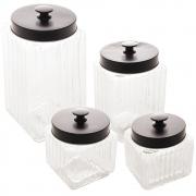 Conjunto 4 porta mantimentos vidro tampa metal preta Lyor