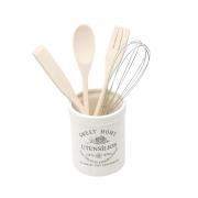Conjunto 4 utensílios cozinha suporte cerâmica Sweet Home