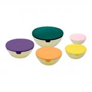 Conjunto 5 Bolws Vidro Com Tampas Coloridas Rojemac