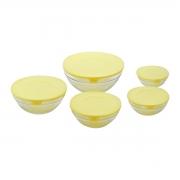 Conjunto 5 potes vidro com tampa plástica amarela Rojemac
