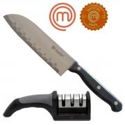 Faca Santoku 7 Official Knife e Afiador 3 Fases MasterChef