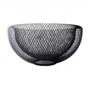 Fruteira metal preto vazado redonda 30x15cm BTC