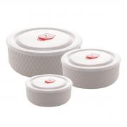 Jogo 3 refratários porcelana branca 900ml/600ml/300ml Lyor