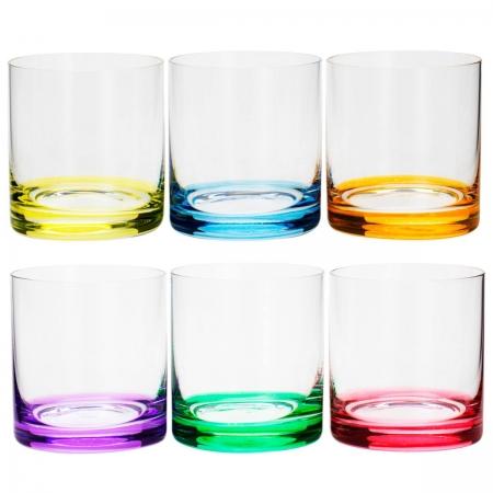 Jogo 6 copos whisky cristal colorido Favorit 310ml Bohemia