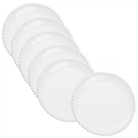 Jogo 6 pratos rasos porcelana branca Beads 28cm Bon Gourmet