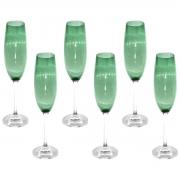 Jogo 6 taças champanhe cristal Gastro verde 220ml Bohemia