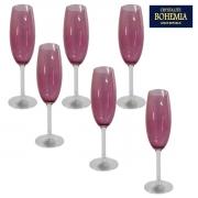 Jogo 6 Taças Champanhe Cristal Gastro Violeta 220ml Bohemia