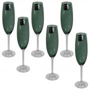 Jogo 6 taças champanhe Gastro cristal 220ml verde Bohemia