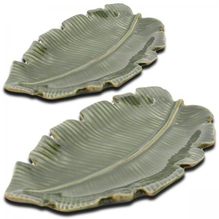 Kit 2 Folhas Decorativas Cerâmica Banana Leaf Rasa Lyor