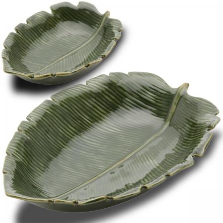 Kit 2 Folhas decorativas Cerâmicas Banana Leaf Fundas Lyor