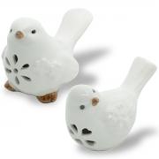 Kit 2 Pássaros Decorativos Cerâmica Brancos 10x7x6,5cm Lyor