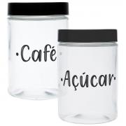Kit 2 Potes Vidro Round Coffee/Sugar 2x(11x17cm 1,5L) Urban