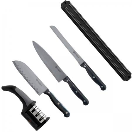 Kit 3 Facas Chef Quotidien + Afiador + Barra MasterChef