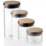 Kit 4 Potes Herméticos com Tampa Bronze 370/750/1000/1300 ml