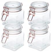 Kit 4 Potes vidro hermético Cooper Glass Flip 8,2x10cm 360ml