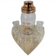 Kit 6 copos dose, coqueteleira vidro bandeja madeira Heart Urban