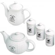 Kit Bule Café Chá e 3 Potes Porcelana Sweet Home Bon Gourmet
