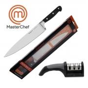 Kit Faca Do Chef 10 Profissional Line e Afiador 3 Faces MasterChef