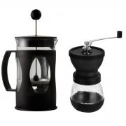 Kit prensa francesa preta 350 ml e moedor de café Mimo Style