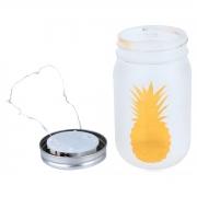 Luminária Vidro Com 5 Leds Pineapple Pot Dourado 8x14cm Urban