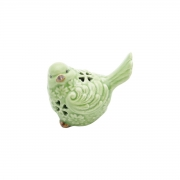 Pássaro decorativo cerâmica Verde 9,5x6,5x8,5cm Lyor