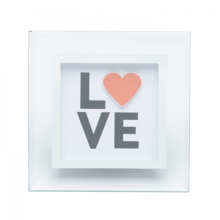 Placa vidro mesa Decor Love Heart transparente15x15cm Urban