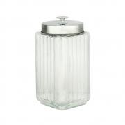 Porta mantimentos vidro tampa metal 1,6 l 11x19cm Lyor