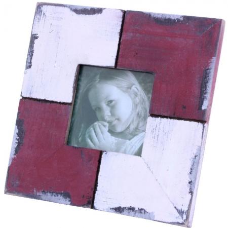 Porta Retrato de Mesa Vinho/Branco Madeira 15x15cm Santa Cecília