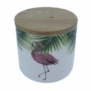 Pote Cerâmica tampa madeira Flamingo 400 ml 10,5x8,5cm BTC