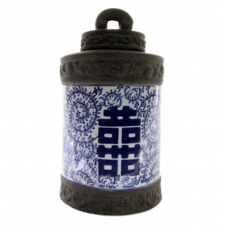 Pote decorativo oriental em cerâmica 14x26cm BTC