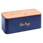 Pote porta cha ferro azul com tampa madeira 20x8,5x8,5cm BTC