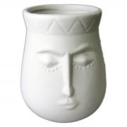 Pote rosto cerâmica branco 12,5x10,5cm BTC
