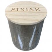 Pote vidro Sugar Clear Cinza tampa madeira 10x12,2 Urban