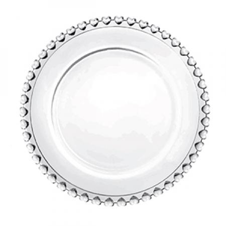 Prato de sobremesa cristal Coração transparente 20 cm Lyor