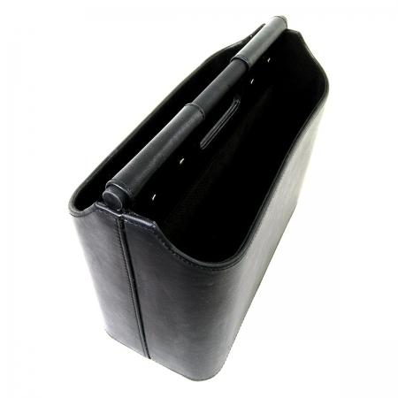 Revisteiro 2 compartimentos em couro preto 36x28,5x17cm BTC