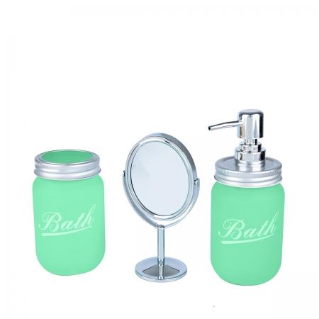 Set banheiro com Espelho Clean Color Verde 28,5x9x21,5cm Urban