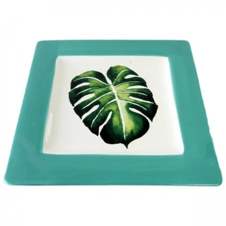 Travessa cerâmica quadrada verde 28x28x2cm BTC