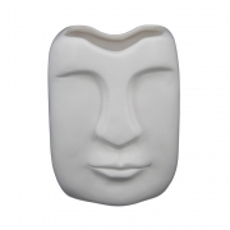 Vaso cerâmica branca Rosto 14x11x9cm BTC