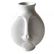 Vaso cerâmica branco Rosto 14x11x10cm BTC