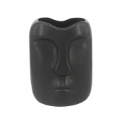 Vaso cerâmica preta Rosto 14x11x9cm BTC