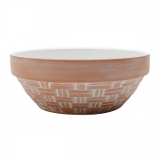 Vaso cerâmica terracota Fake Basket bege e branco 17,5x6,5cm Urban