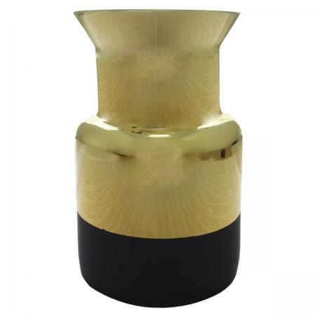 Vaso de vidro metalizado dourado e preto 11x11x17cm BTC