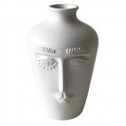 Vaso redondo cerâmica branco Rosto 11x17x11cm BTC