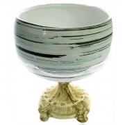 Vaso Taça com pé cerâmica/resina 23x26cm Monte Real
