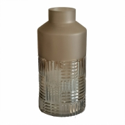 Vaso vidro fosco transparente bege 12x25cm BTC