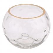 Vaso vidro transparente trabalhado e dourado 12x10cm BTC